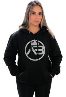 Blusa Moletom Amanda Brazil Logo Maior Preto - Kanui