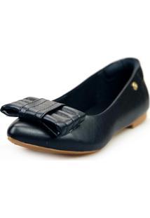 Sapatilha Love Shoes Bico Fino Confort Laço Pesponto Preto - Kanui
