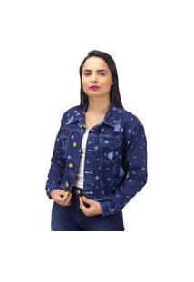 Jaqueta Jeans Com Bolso Destroyed Estrelas Sal E Pimenta