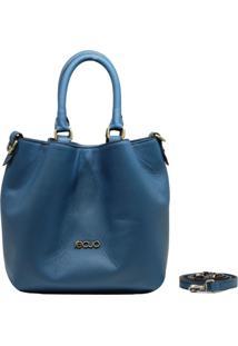Bolsa Em Couro Recuo Fashion Bag Baú Azul Turquesa - Tricae
