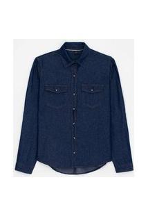 Camisa Jeans Manga Longa Lisa Com Botões De Pressão E Bolsos | Marfinno | Azul | G