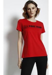 Camiseta Coke Jeansâ® Com Aroma - Vermelha & Preta - Coca-Cola