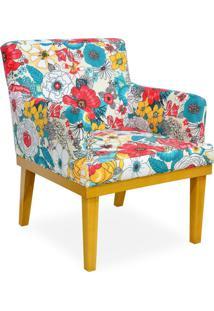 Poltrona Decorativa Para Sala De Estar Beatriz Floral Colorido - Lyam Decor