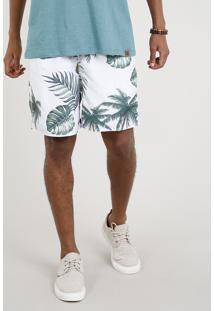 Short Masculino Estampado De Folhagem Com Bolsos Branco