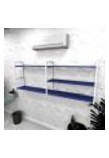 Estante Industrial Escritório Aço Cor Branco 180X30X68Cm (C)X(L)X(A) Cor Mdf Azul Modelo Ind38Azes