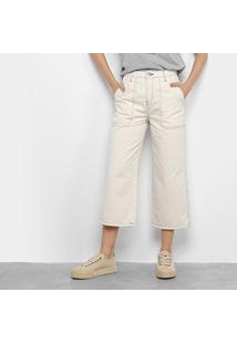 Calça Jeans Pantacourt Calvin Klein Feminina - Feminino-Off White