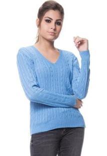 Blusa Logan Tricot Feminina Básica De Trança Feminina - Feminino-Azul