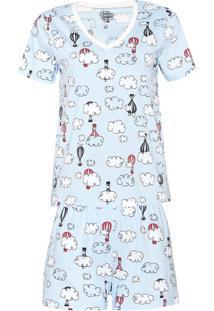Conjunto De Pijama Estampado Feminino Em Manga Curta - Peanuts