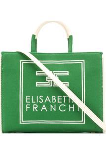 Elisabetta Franchi Bolsa Tote De Algodão - Verde