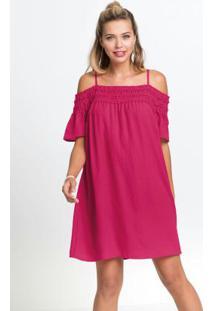 Vestido De Alcinhas Com Babados Rosa