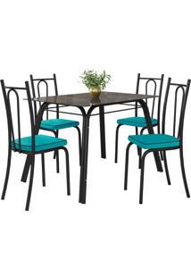 Conjunto De Mesa Lotus C/ 4 Cadeiras Preto E Azul Turquesa Fabone Móveis Tubulares