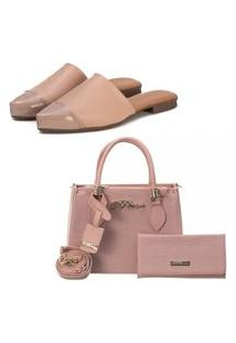 Kit Sapatilha Mule Slip Feminino Confort Bico Fino E Bolsa + Carteira Fashion Blogueira Rosa