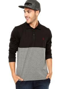 Camisa Polo Volcom Color Block Preta/Cinza