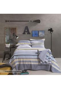 Jogo De Cama Home Design Solteiro- Azul Escuro & Amarelosantista