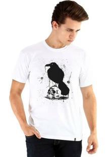 Camiseta Ouroboros Manga Curta Caveira E Corvo Masculina - Masculino-Branco