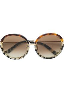 e39c21986d68f ... Calvin Klein 205W39Nyc Óculos De Sol Tartaruga Redondo - Marrom