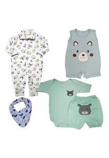 Kit Roupa De Bebê Com 5Pçs Enxoval Menino Menina Com Bandana Azul