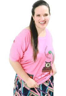 Camiseta Vickttoria Vick Telefone Plus Size - Rosa - Feminino - Dafiti