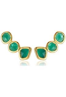 Monica Vinader Gp Siren Climber Green Onyx Earrings - Verde