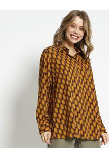 Camisa Abstrata Acetinada - Amarelo Escuro & Marromsimple Life