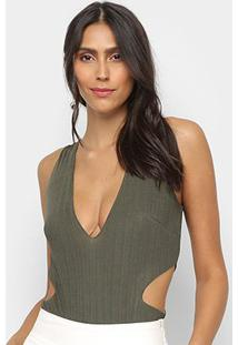 Body My Favorite Thing Sem Manga Com Cut Off - Feminino-Verde