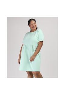 Vestido De Moletom Feminino Plus Size Mindset Curto Manga Curta Verde Claro
