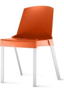 Cadeira Shine Assento Laranja Base Aluminio Cinza - 54177 - Sun House