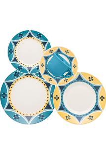 Aparelho De Jantar Biona Actual Sintra Cerâmica 30 Peças Azul