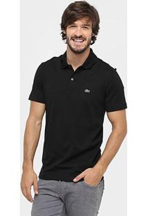Camisa Polo Lacoste Malha Original Fit Masculina - Masculino-Preto