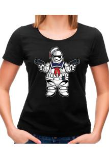 Camiseta Feminina Marshmallow Trooper Geek10 - Branco