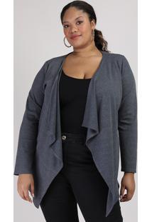Capa Feminina Plus Size Canelada Assimétrica Chumbo