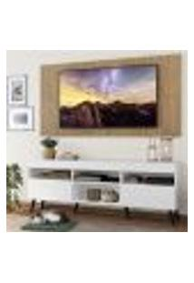 """Rack Com Painel Tv 65"""" Londres Multimóveis Pés Retrô E 2 Portas Branco/Rustic/Preto"""
