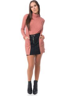 Cardigan Pkd Concept Canelado Telha - Laranja - Feminino - Dafiti