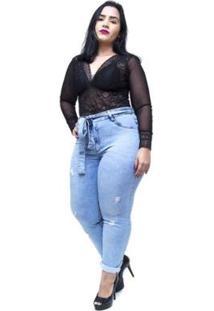 Calça Jeans Feminina Cambos Plus Size Skinny Gilcimara - Feminino-Azul