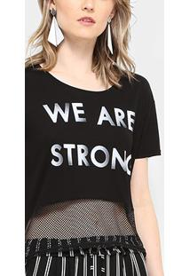 Camiseta Drezzup Estampada Com Tela Feminina - Feminino-Preto
