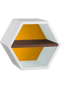 Nicho Hexagonal Favo Ii Com Prateleira Branco Com Amarelo E Marrom Escuro