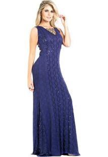 Vestido azul longo casual