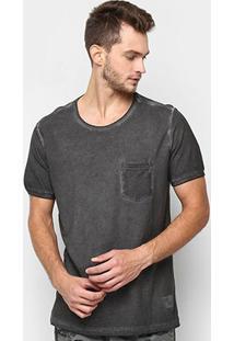 Camiseta Kohmar Flame Com Bolso Masculina - Masculino-Preto