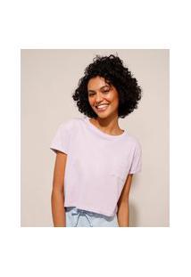 Camiseta Cropped De Algodão Básica Com Bolso Manga Curta Decote Redondo Lilás