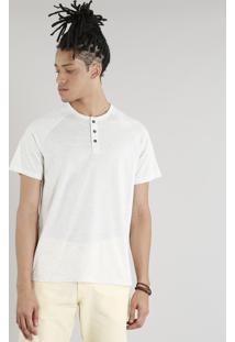 Camiseta Masculina Com Botões Em Linho Manga Curta Gola Careca Bege Claro