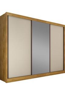 Guarda-Roupa Casal 3 Portas Com Espelho Diamond- Novo Horizonte - Freijo Dourado / Off White
