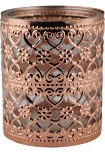 Porta Velas Decorando Com Classe Bronze 10X8,5Cm