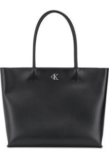 Calvin Klein Bolsa Tote Com Placa De Logo - Preto