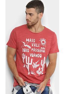 Camiseta Colcci Ditado Popular Masculina - Masculino-Vermelho