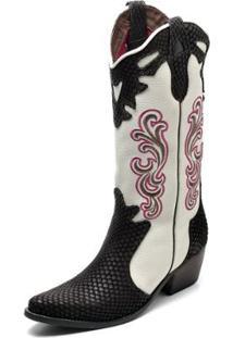 Bota Couro Country Top Franca Shoes Escama Feminina - Feminino-Preto+Branco