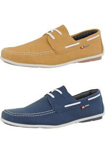 Kit Dockside Casual Sintético Sapatofran Lançamento Azul E Amarelo Cr Shoes