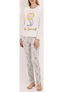 Pijama Longo Feminino Off White/Cinza