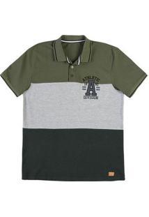 Camisa Polo Masculina Regular Em Malha De Algodão Com Recorte