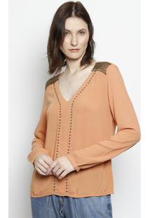 Blusa Com Bordados - Laranja & Douradascalon