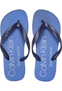 Chinelo Calvin Klein Lettering Azul